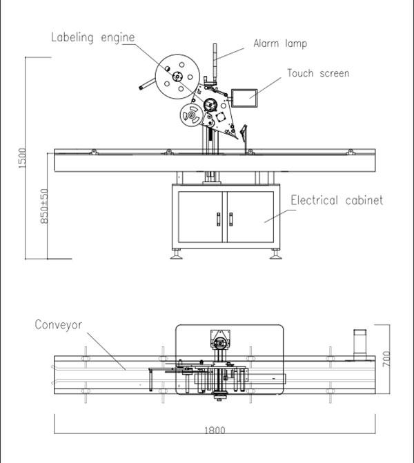 स्वचालित फ्लैट टॉप स्व-चिपकने वाला लेबलिंग मशीन